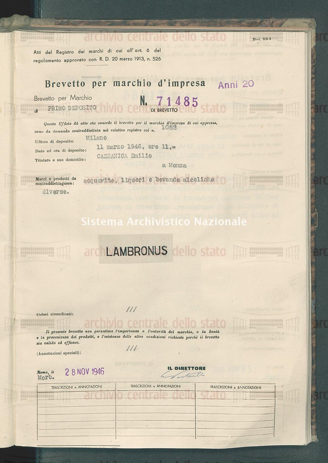 Acquavite, liquori e bevande alcoliche diverse Cazzaniga Emilio (28/11/1946)