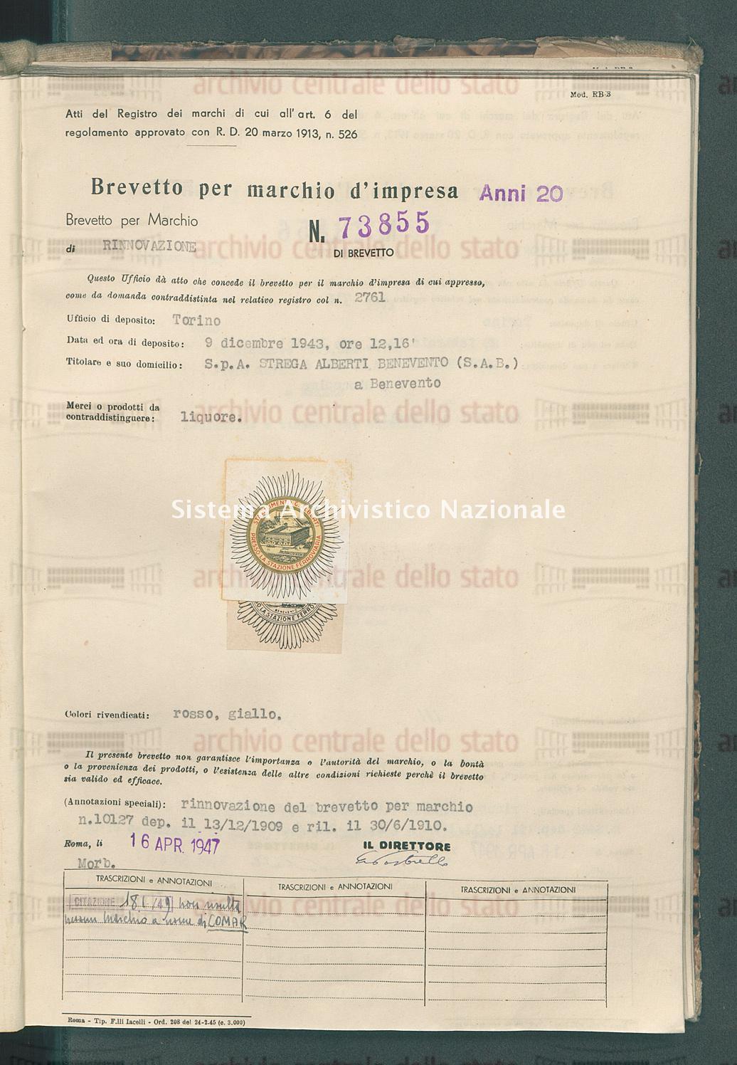 Liquore S.P.A.Strega Alberti Benevento (S.A.B.) (16/04/1947)