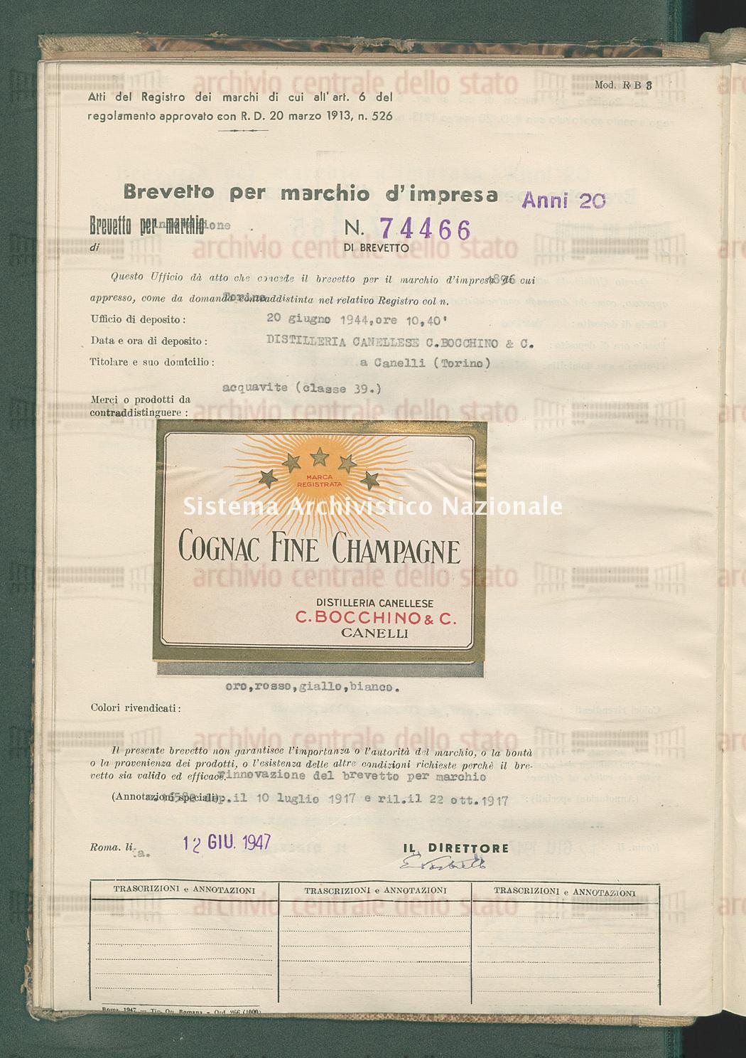Acquavite Distilleria Canellese C. Bocchino & C. (12/06/1947)