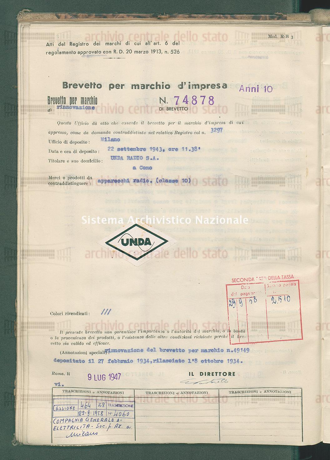 Apparecchi radio Unda Radio S.A. (09/07/1947)