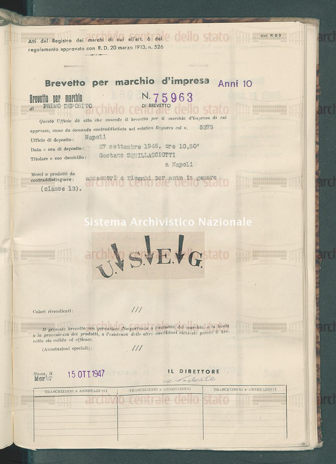 Accessori e ricambi per auto in genere Gaetano Squillacciotti (15/10/1947)