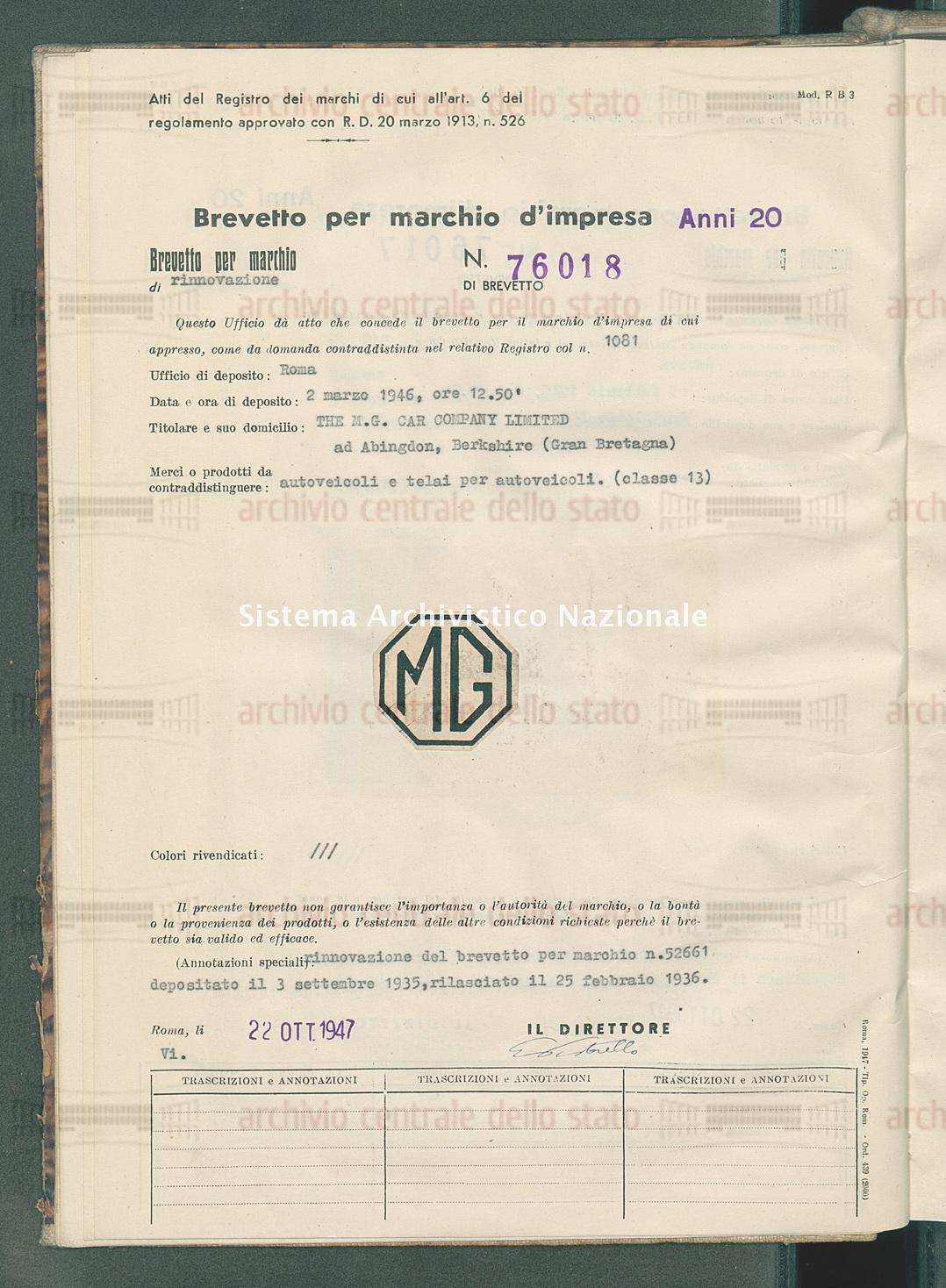 Autoveicoli e telai per autoveicoli The M.G. Car Company Limited (22/10/1947)