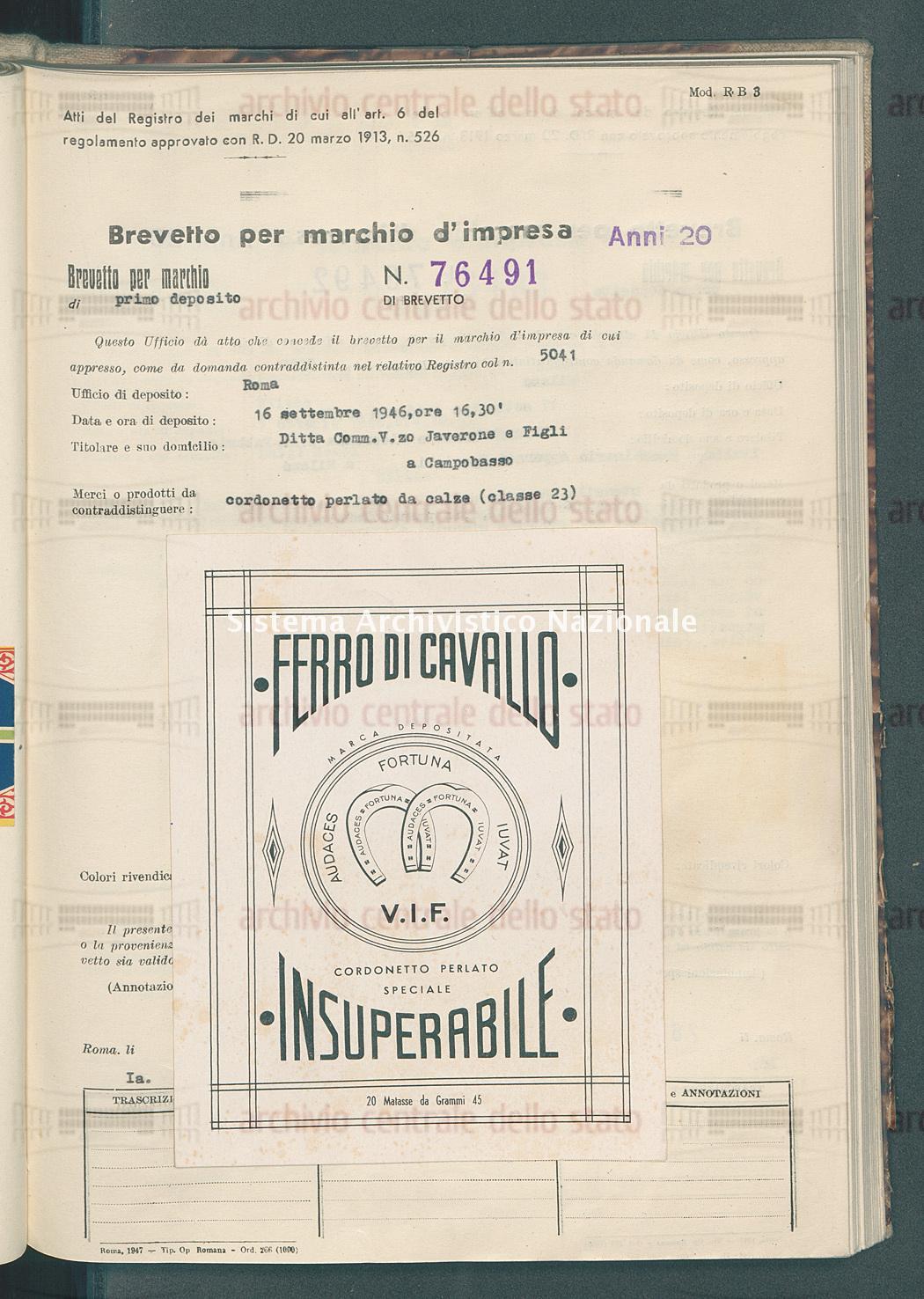 Cordonetto perlato da calze Ditta Comm. V.Zo. Javerone E Figli (28/11/1947)