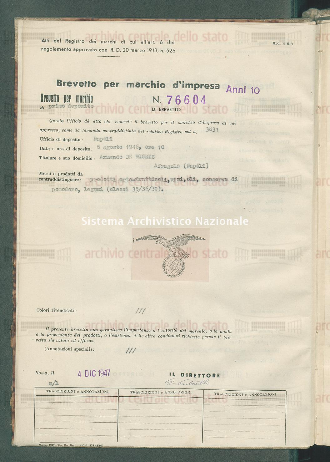 Prodotti orto-frutticoli, vini, oli, ecc. Armando De Migris (04/12/1947)