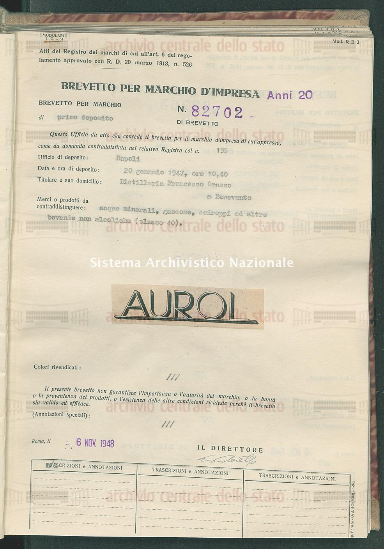 Acque minerali, gassose, sciroppi ed altre bevande non alcoliche Distilleria Francesco Grasso (06/11/1948)