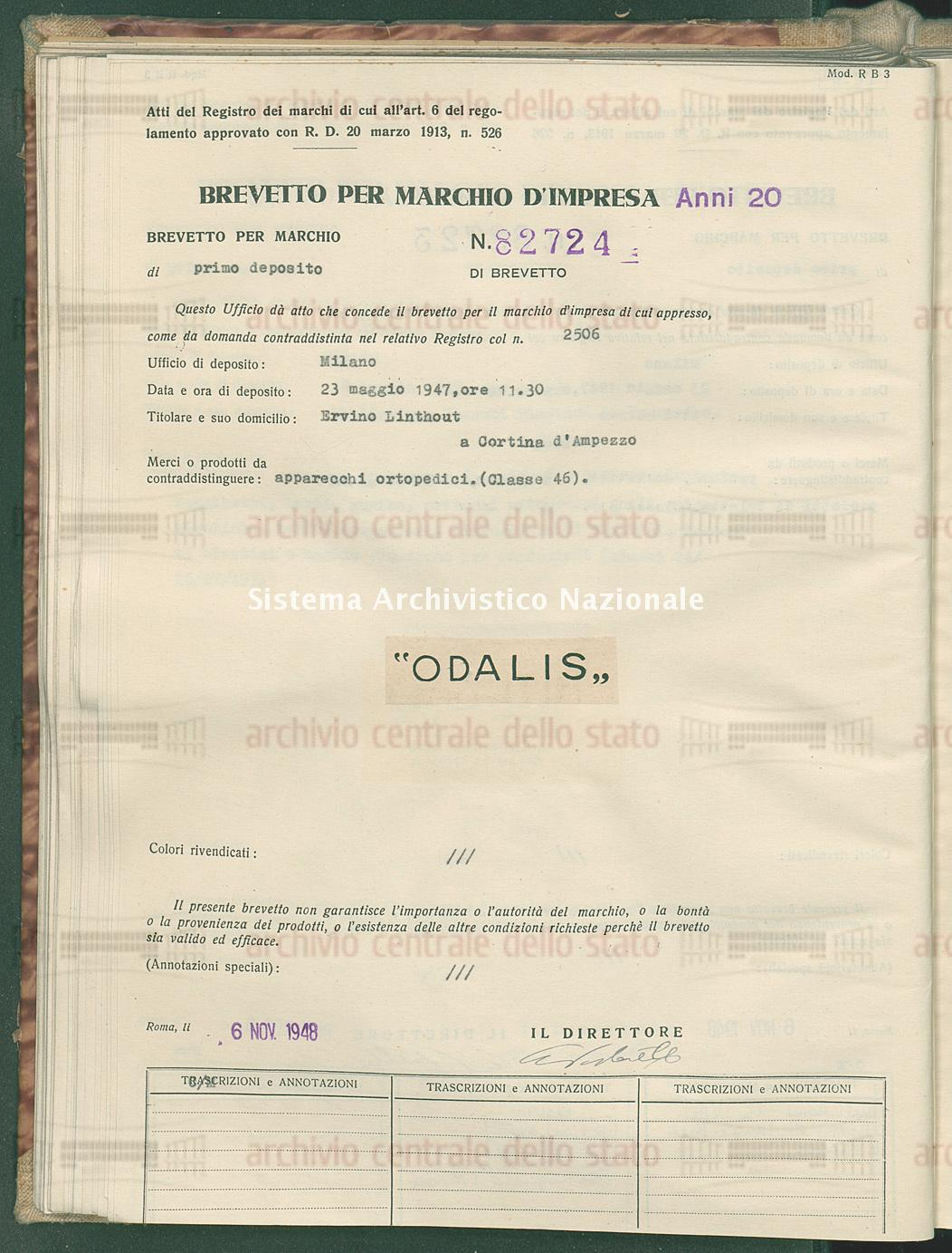 Apparecchi ortopedici Ervino Linthout (06/11/1948)