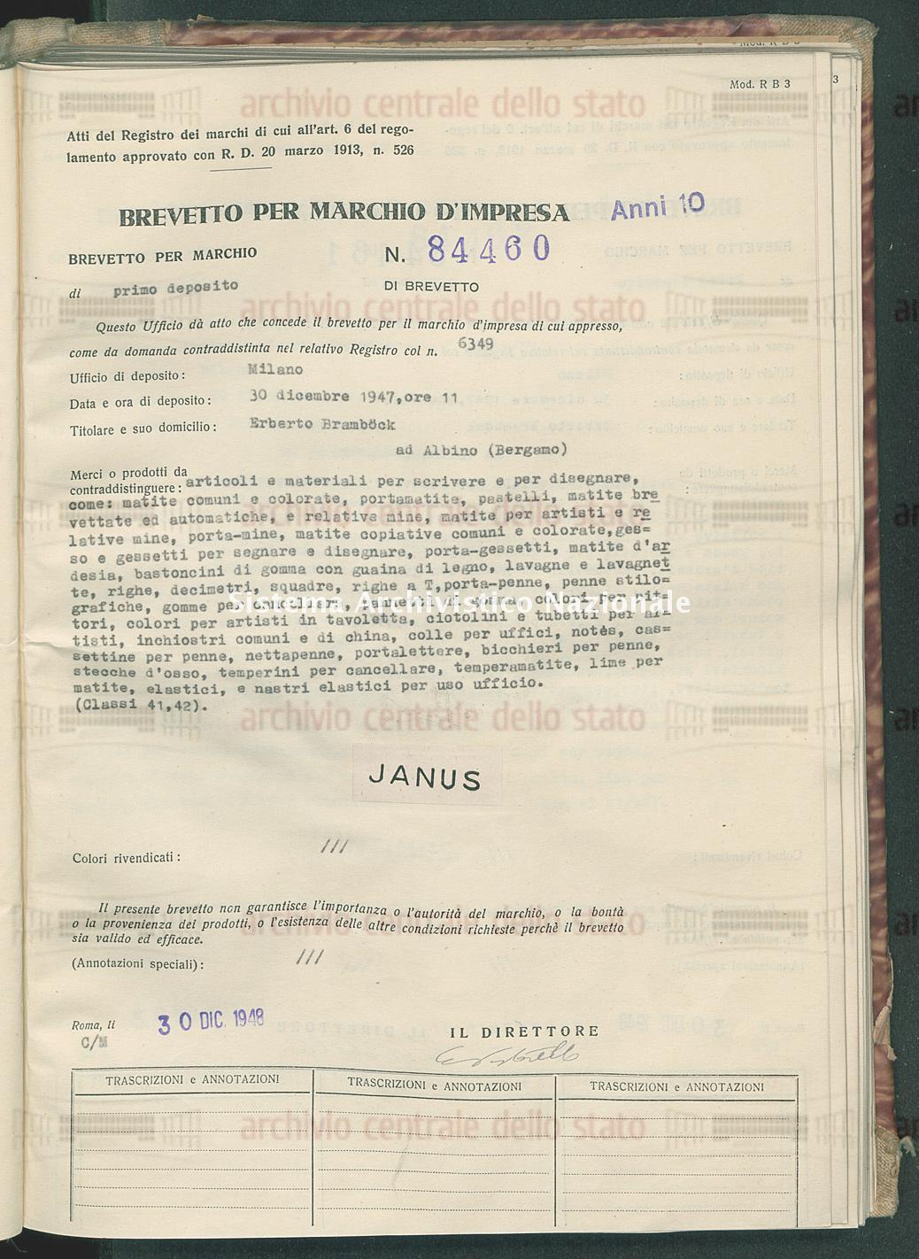 Articoli e materiali per scrivere e per disegnare, come: matite comuni Erberto Brambock (30/12/1948)