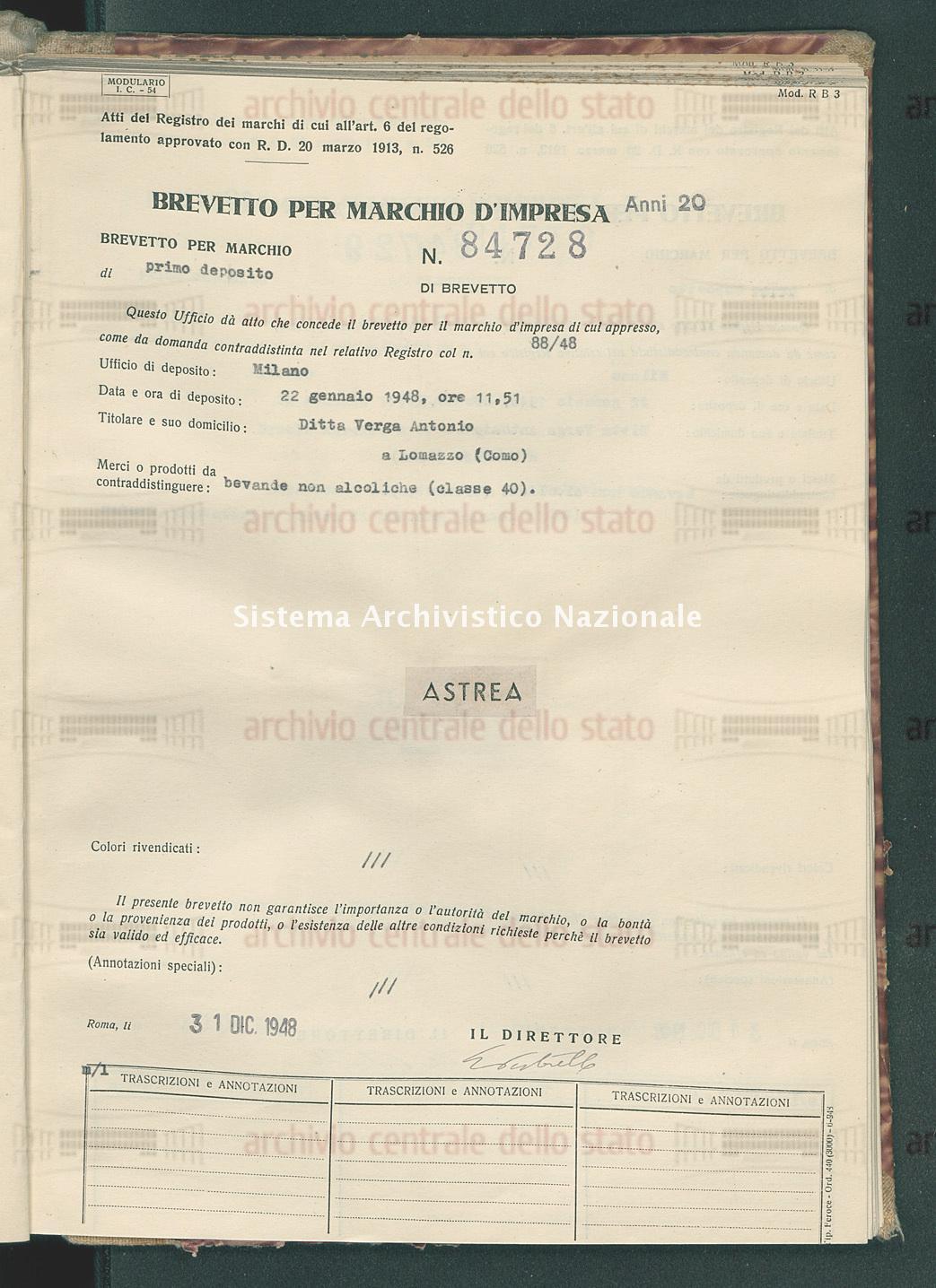 Bevande non alcoliche Ditta Verga Antonio (31/12/1948)