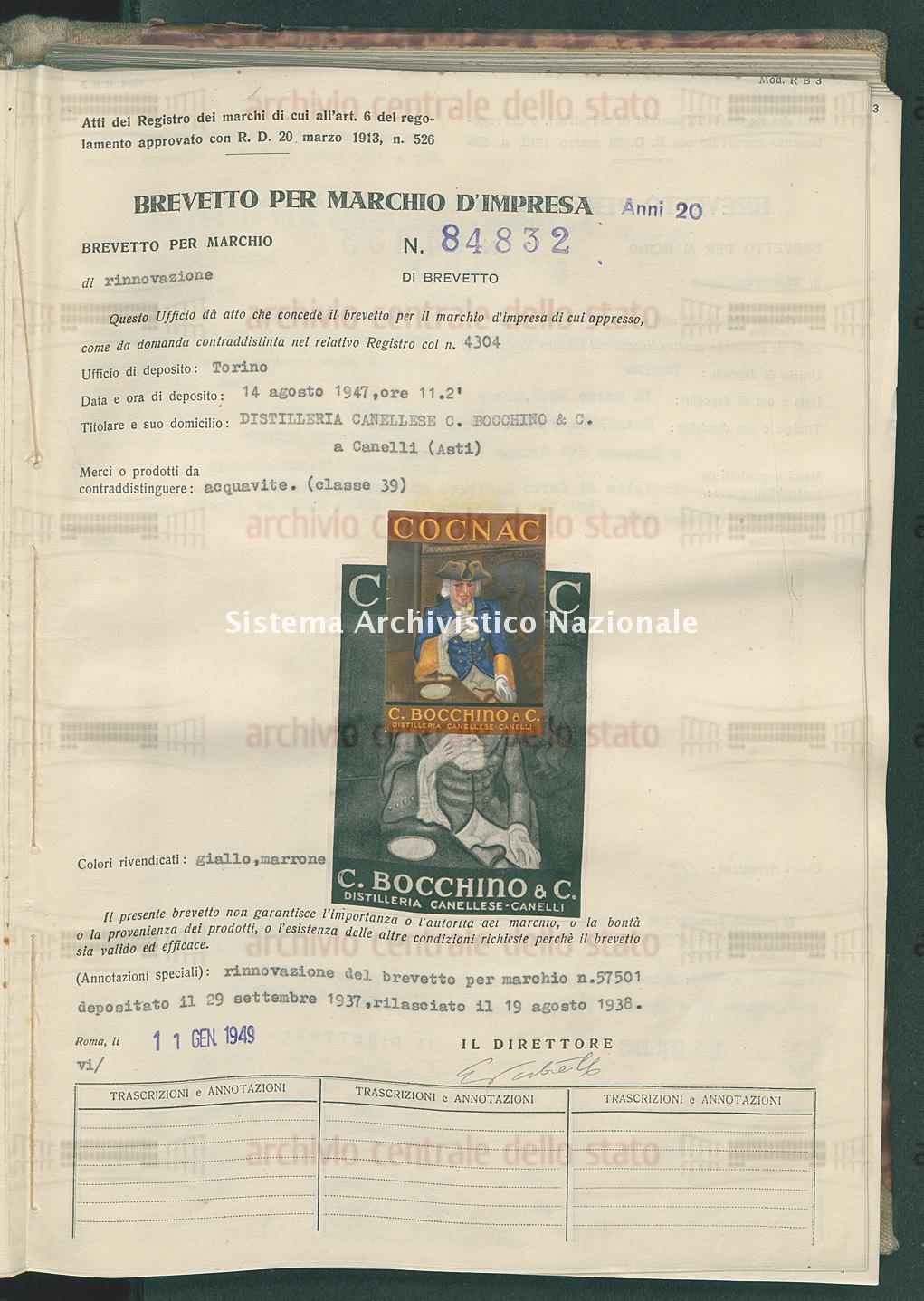 Acquavite Distilleria Canellese C. Bocchino & C. (11/01/1949)