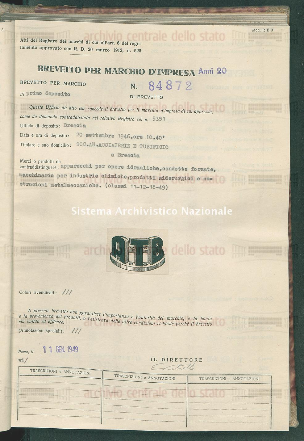 Apparecchi per opere idrauliche, condotte forzate, macchinario per ind Soc.An.Acciaierie E Tubificio (11/01/1949)