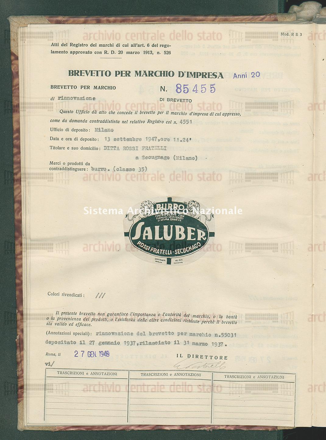 Burro Ditta Rossi Fratelli (27/01/1949)
