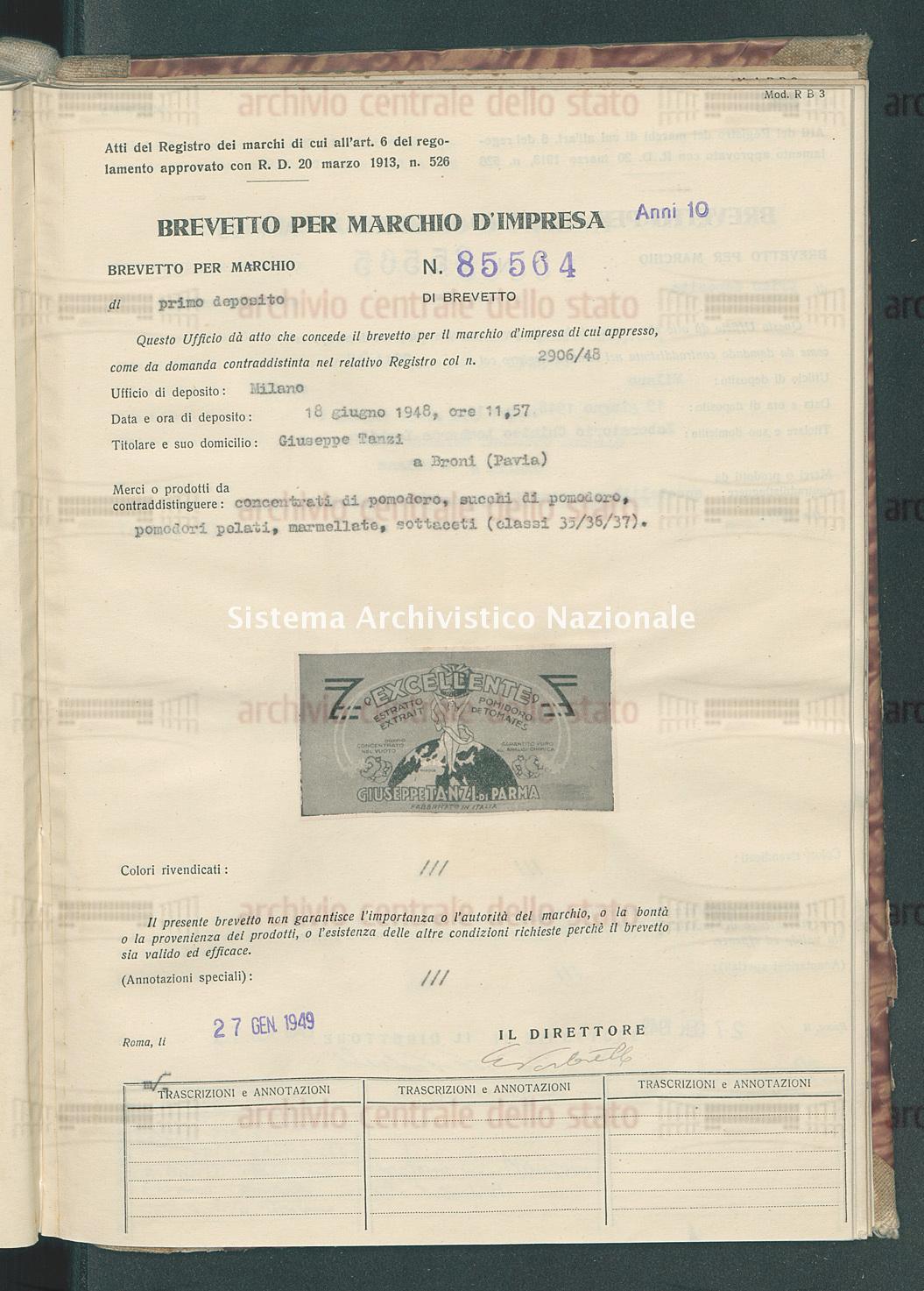 Concentrati di pomodoro, succhi di pomodoro, pomodori pelati, marmella Giuseppe Tansi (27/01/1949)
