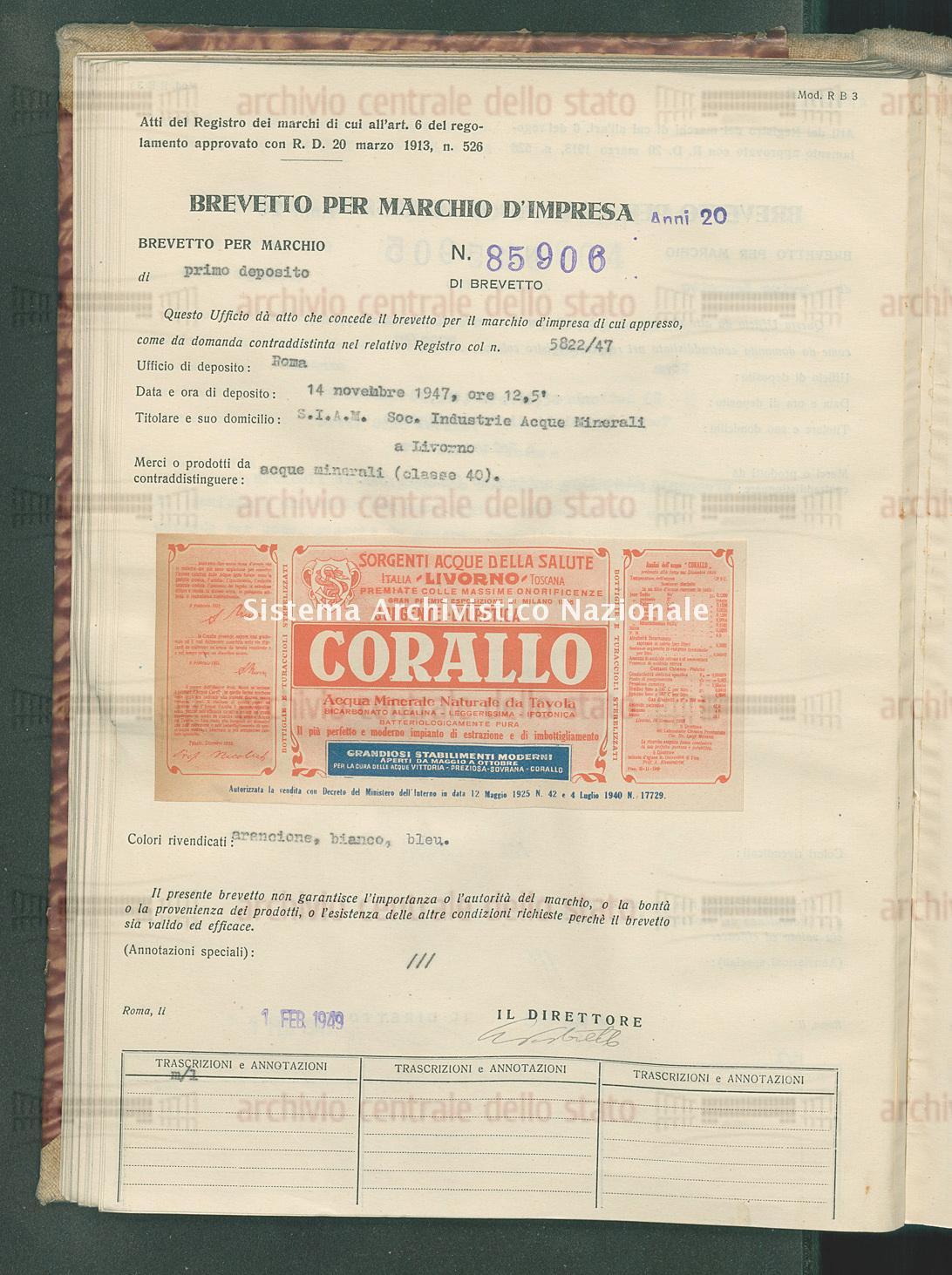 Acque minerali S.I.A.M. Soc.Industria Acque Minerali (01/02/1949)