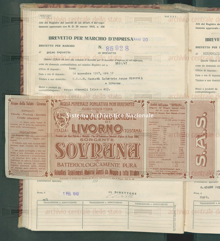 Acque minerali S.I.A.M. Societa' Industrie Acque Minerali (01/02/1949)