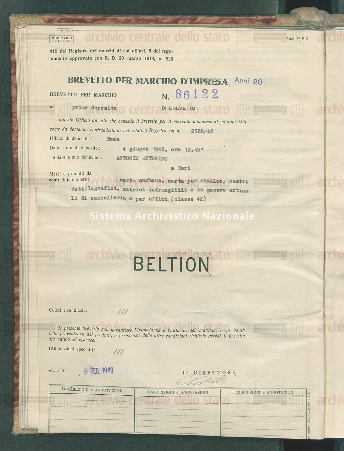 Carta carbone, carta per ricalco, nastri dattilografici, matrici infra Antonino Antonio (09/02/1949)