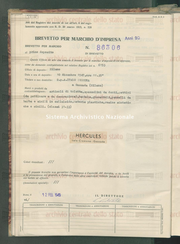 Articoli di toletta, spazzolini da denti, pettini (da pettinare e da d S.P.A. Italo Cremona (12/02/1949)