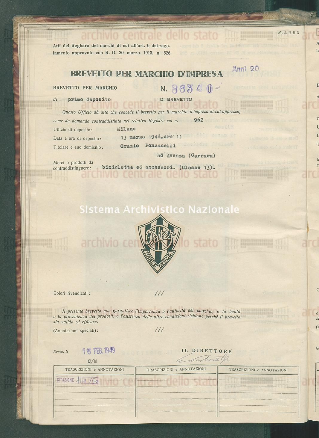 Biciclette ed accessori Orazio Ponsanelli (16/02/1949)