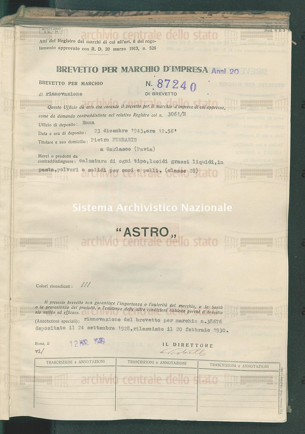 Calzature di ogni tipo, lucidi grassi liquidi, in pasta, polveri ecc. Pietro Ferraris (12/03/1949)