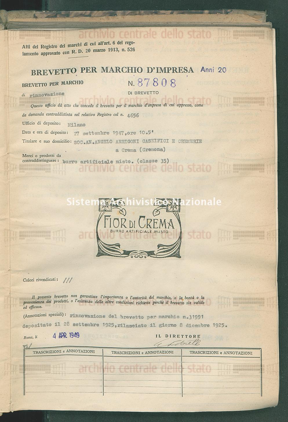 Burro artificiale misto Soc.An.Angelo Arrigoni Caseifici E Cremerie (04/04/1949)