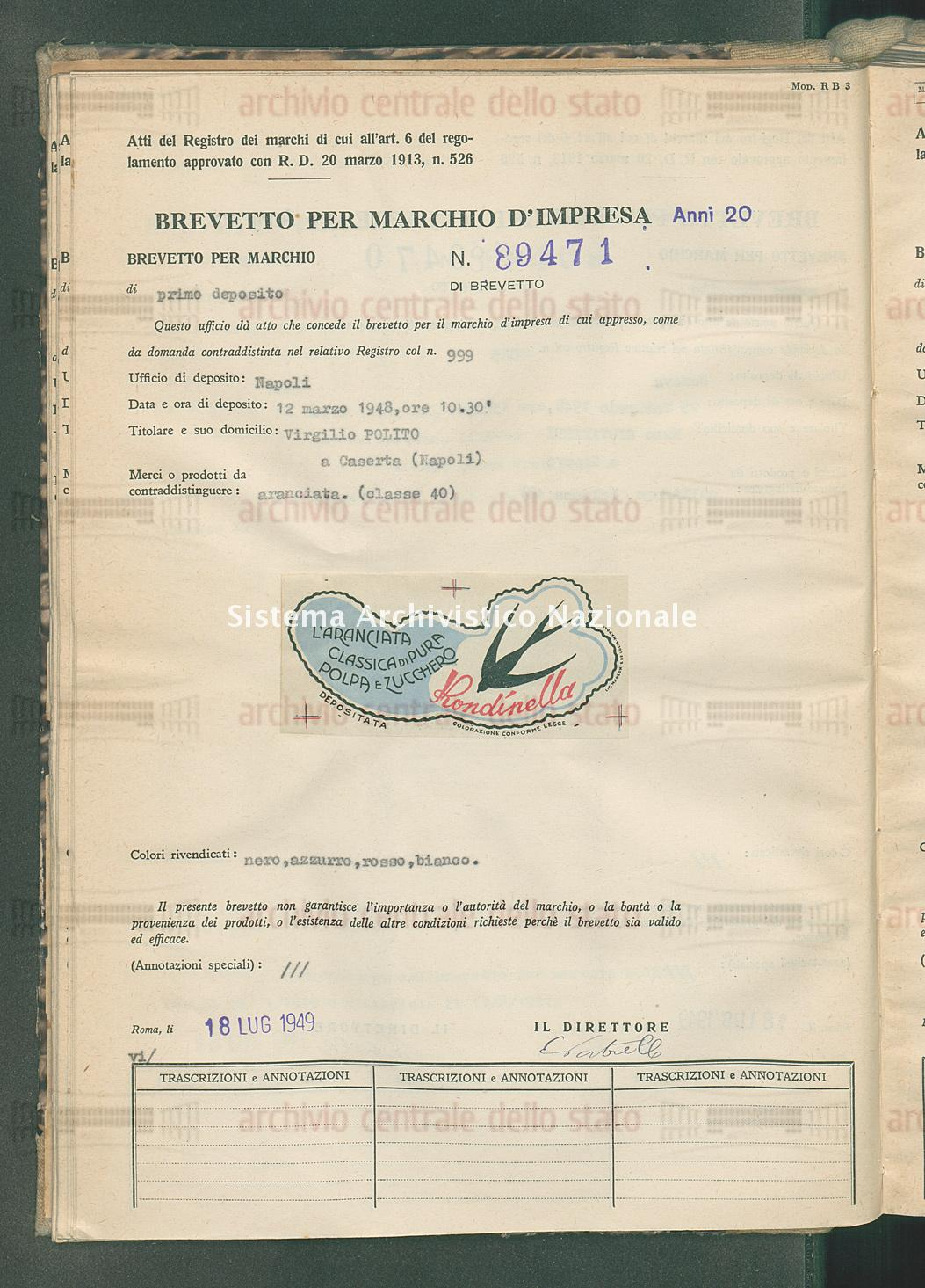 Aranciata. Virgilio Polito (18/07/1949)