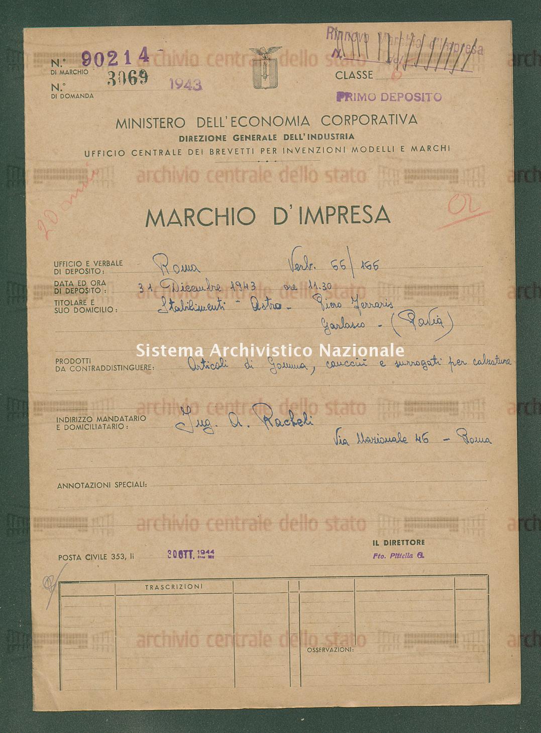 Articoli di gomma, caucciu ecc. Stabilimenti 'Astro' Piero Ferraris (30/10/1944)