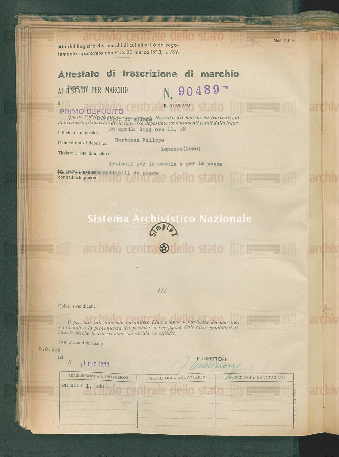 Articoli per la caccia e per la pesca in particolare mulinelli da ecc. Hartmann Filippo (11/12/1944)