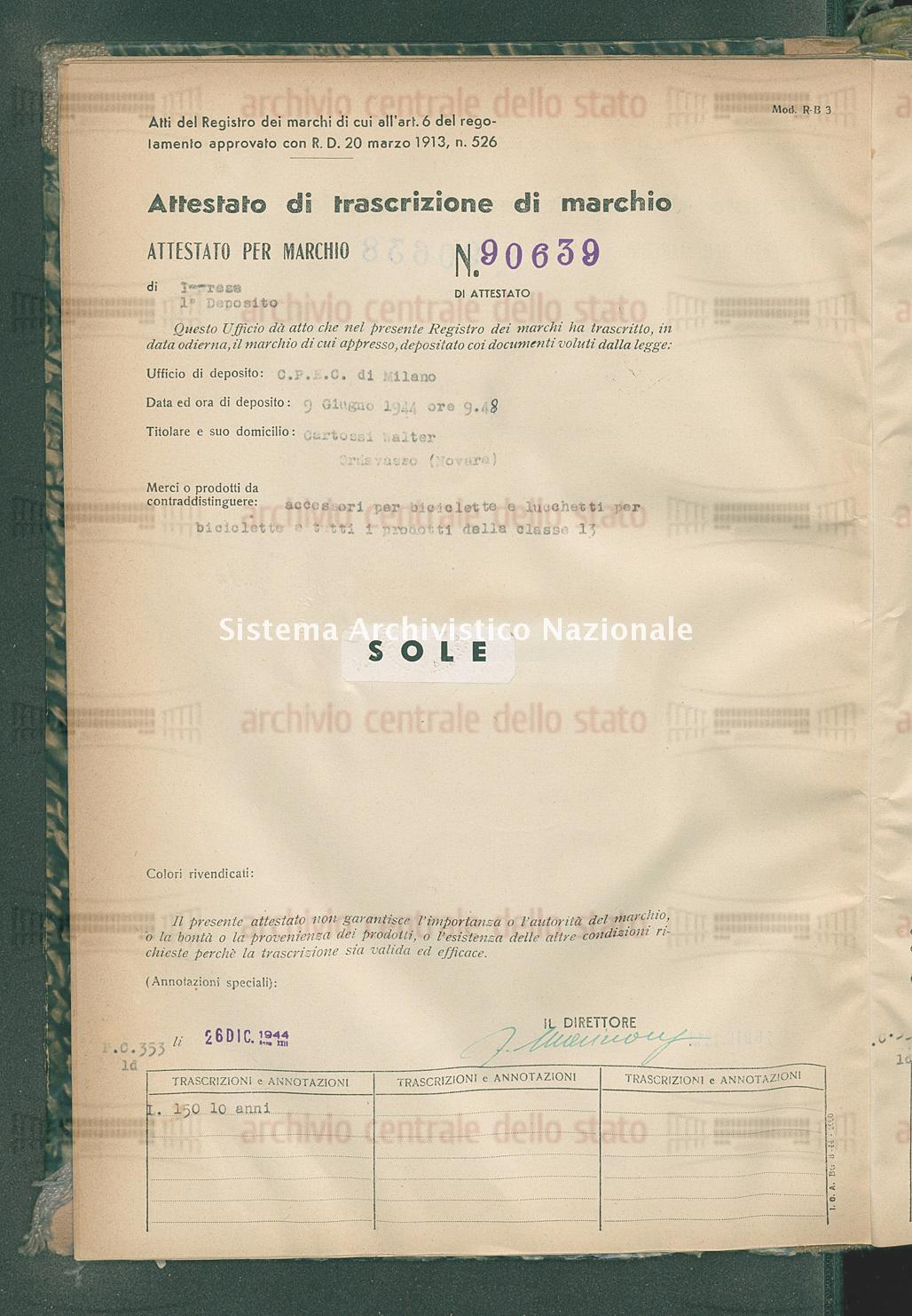 Accessori per biciclette e lucchetti per biciclette e tutti i ecc. Cartossi Walter (26/12/1944)