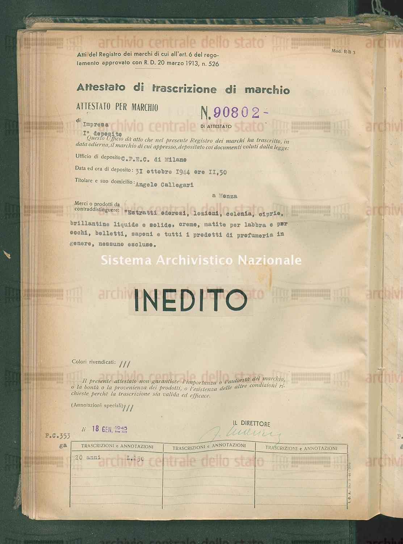 'Estratti odorosi, lozioni, colonia, ciprie, brillantine liquide ecc. Angelo Callegari (18/01/1945)