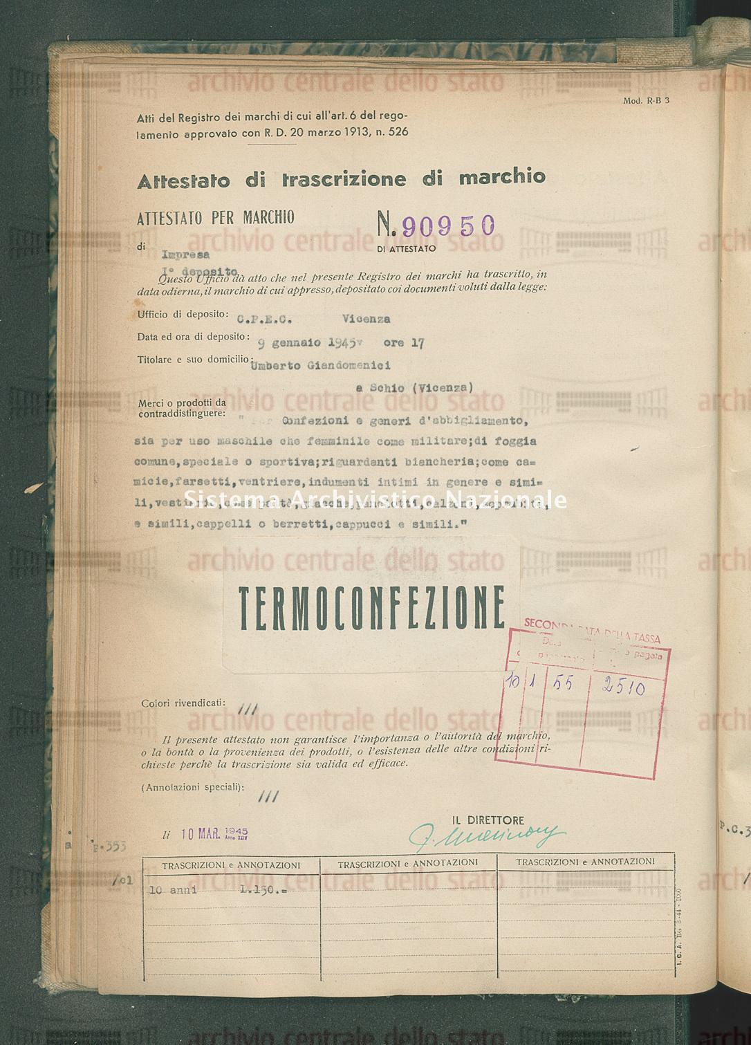'Per confezioni e generi d'abbigliamento, sia per uso maschile che ecc Umberto Giandomenici (10/03/1945)