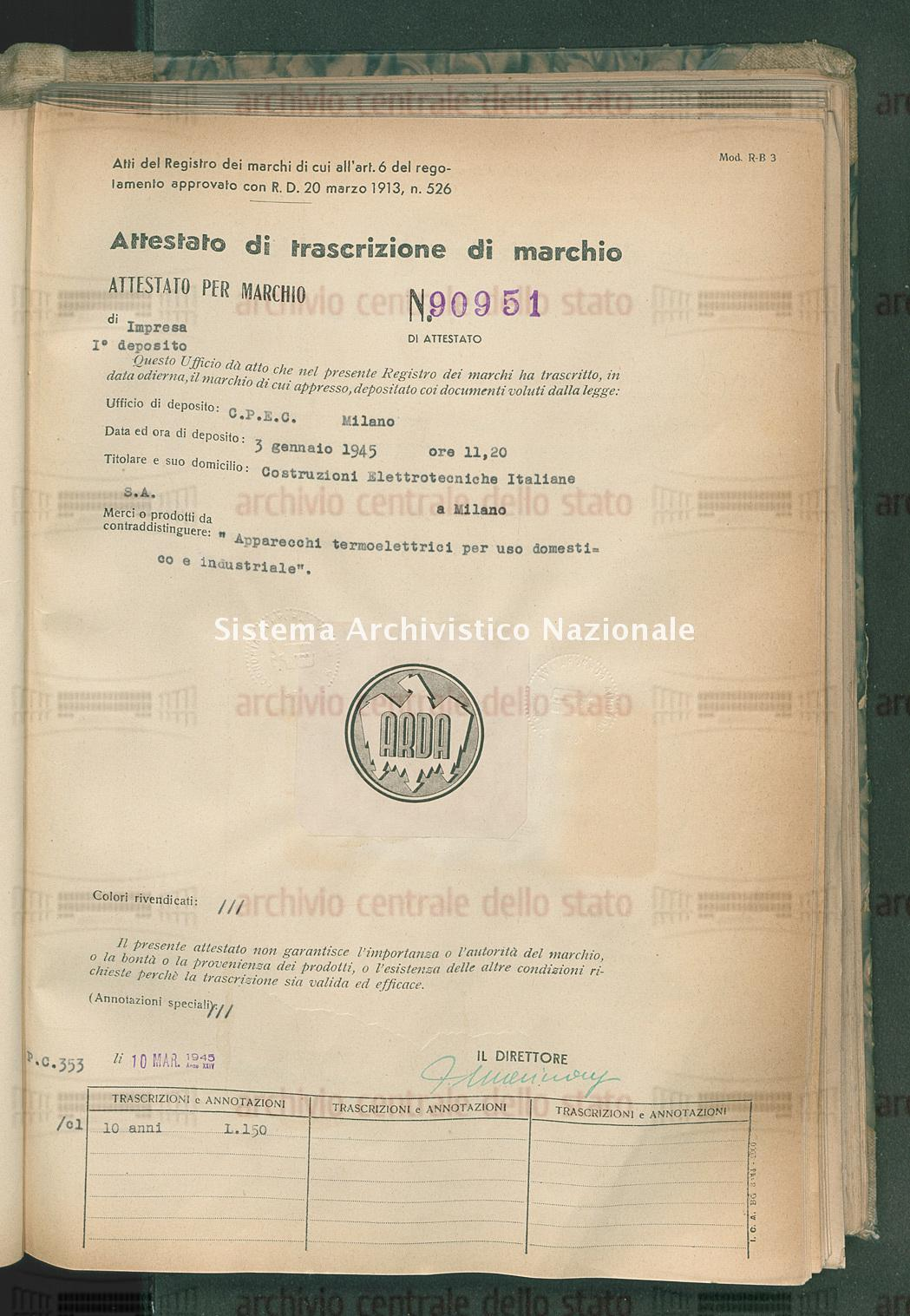 'Apparecchi termoelettrici per uso domestico e industriale'. Costruzioni Elettrotecniche Italiane (10/03/1945)