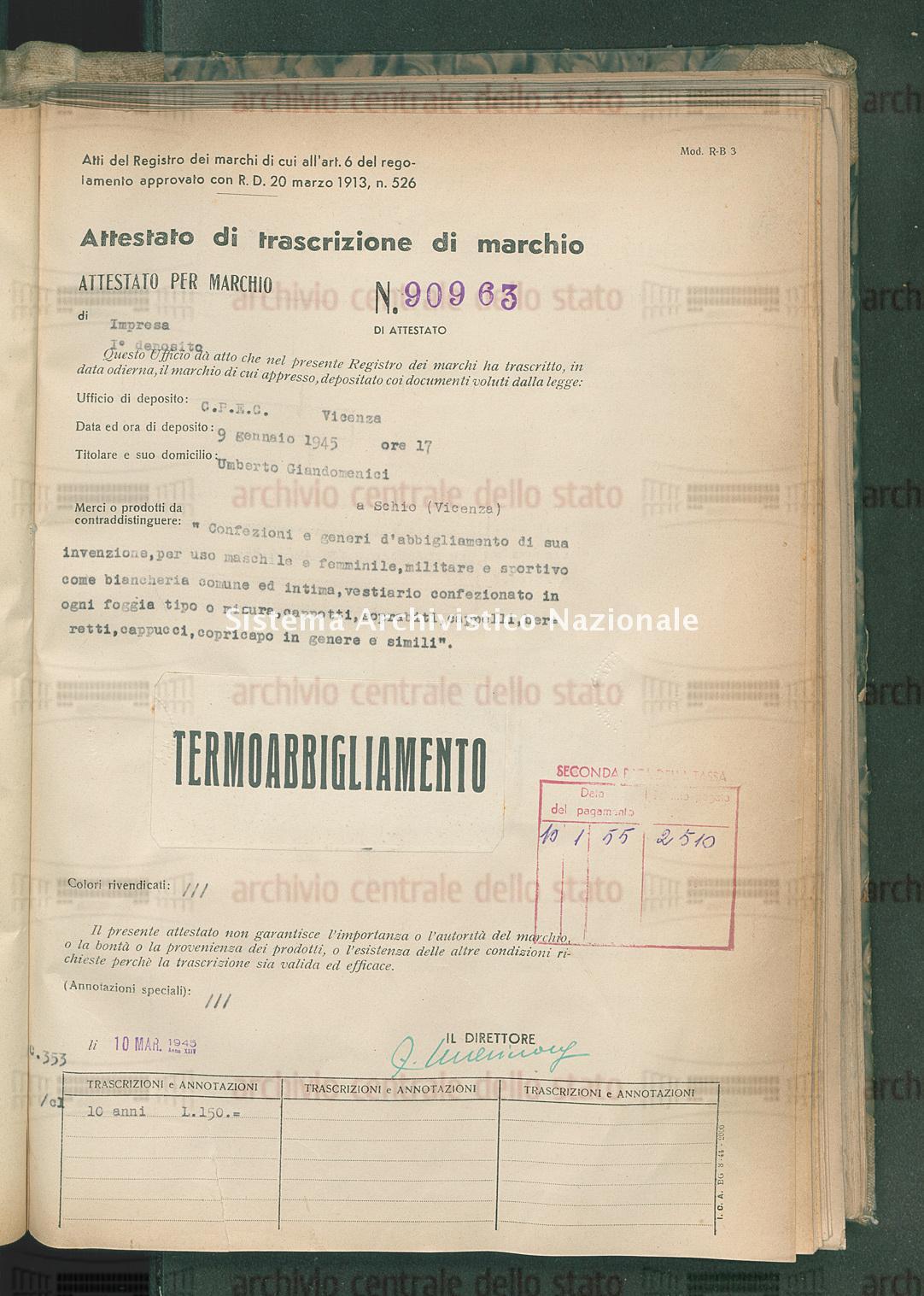 'Confezioni e generi d'abbigliamento di sua invenzione, per uso ecc. Umberto Giandomenici (10/03/1945)
