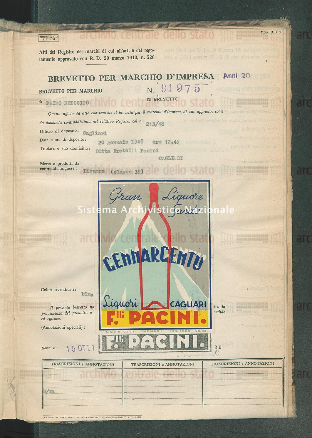 Liquore Ditta Fratelli Pacini (15/10/1949)