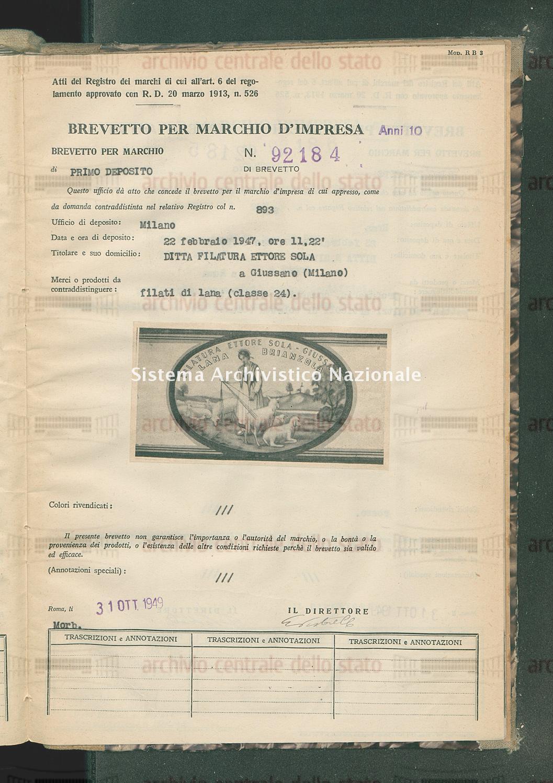 Filati di lana Ditta Filatura Ettore Sola (31/10/1949)