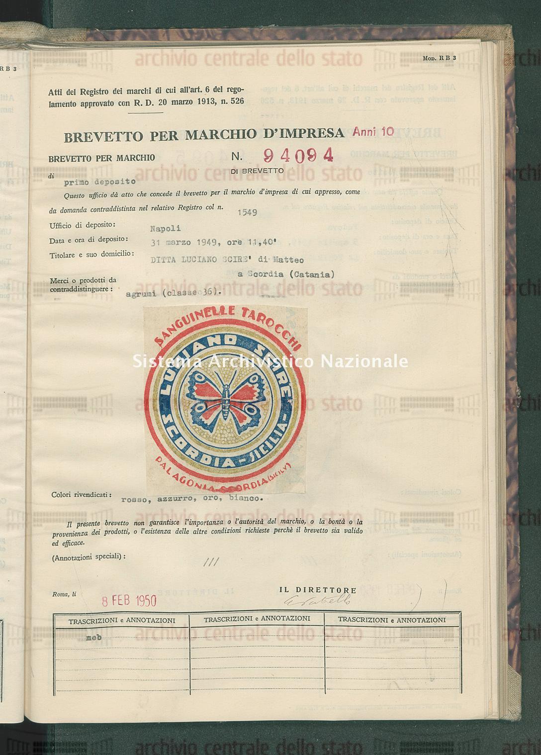 Agrumi Ditta Luciano Scire' Di Matteo (08/02/1950)