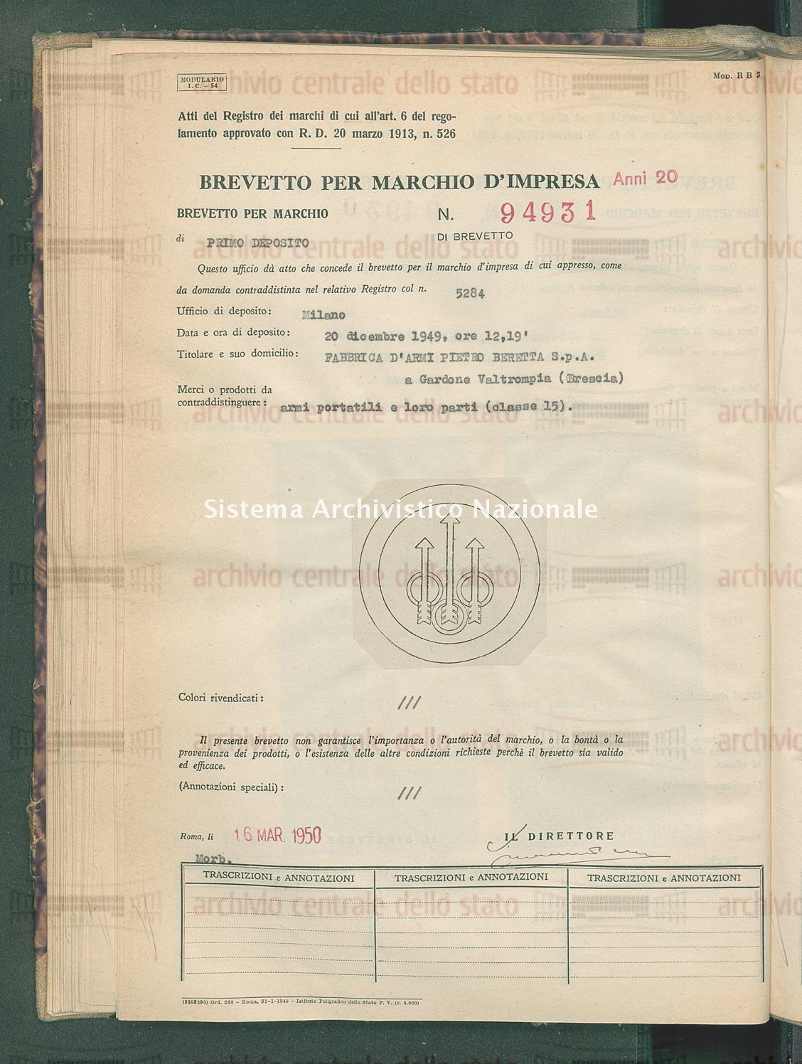 Armi portatili e loro parti Fabbrica D'Armi Pietro Beretta S.P.A. (16/03/1950)