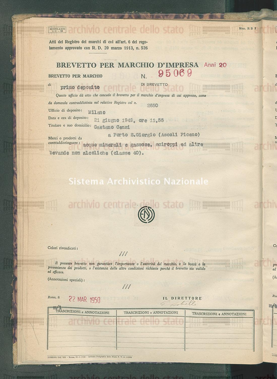 Acque minerali e gassose, ecc. Gaetano Censi (22/03/1950)