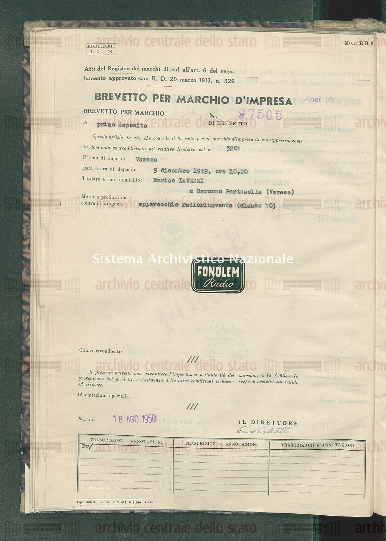 Apparecchio radoricevente Enrico Lavezzi (18/08/1950)