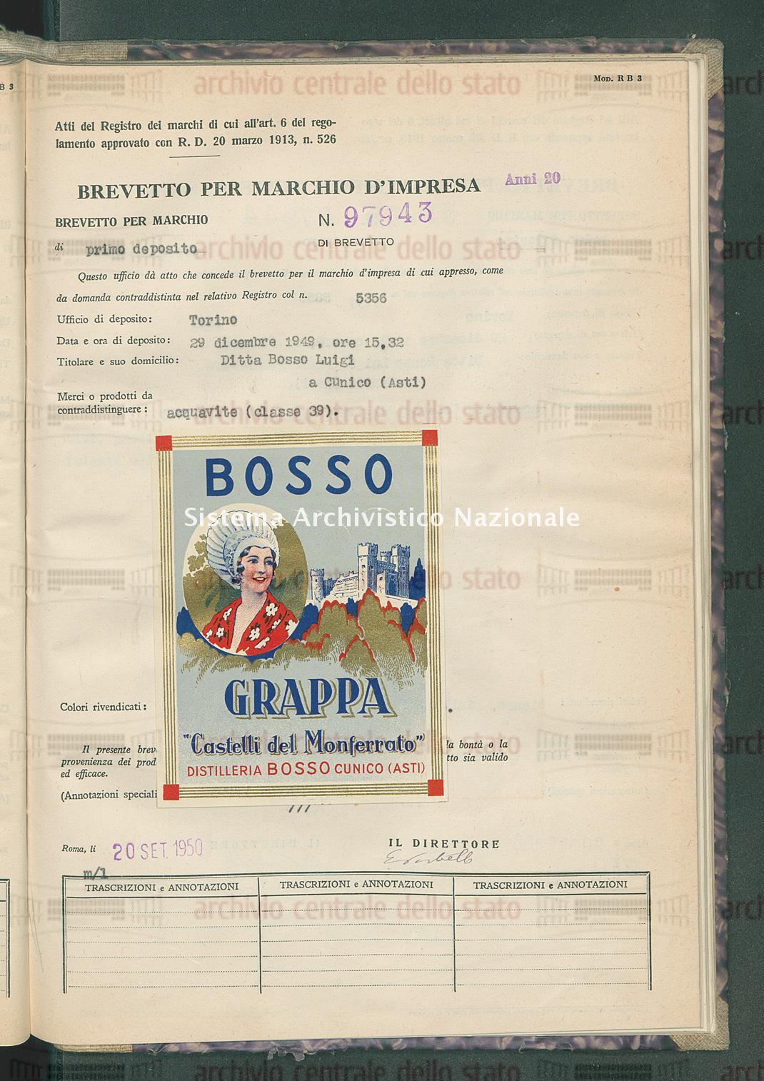 Acquavite Ditta Bosso Luigi (20/09/1950)