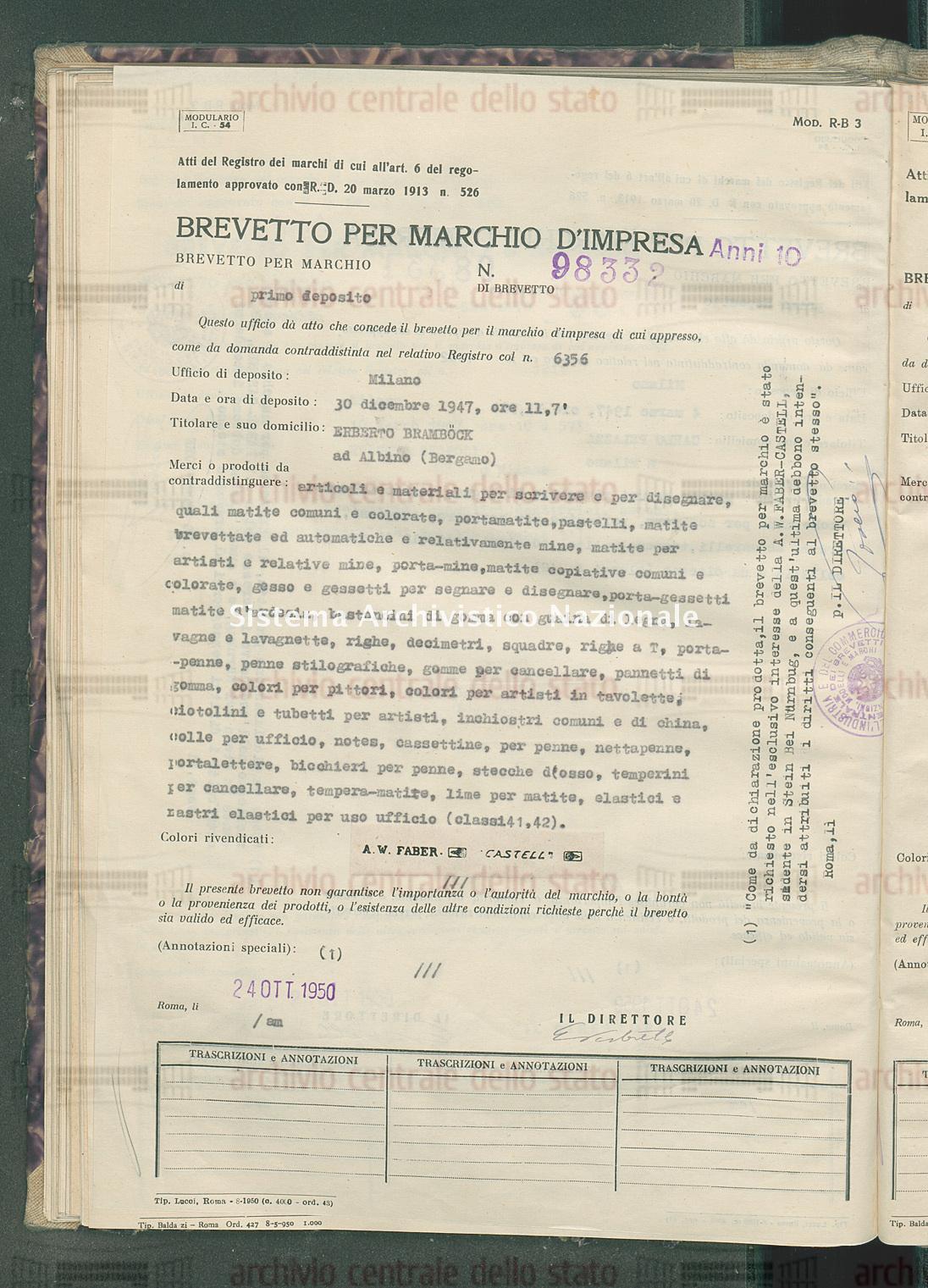 Articoli e materiali per scrivere ecc. Erberto Brambock (24/10/1950)