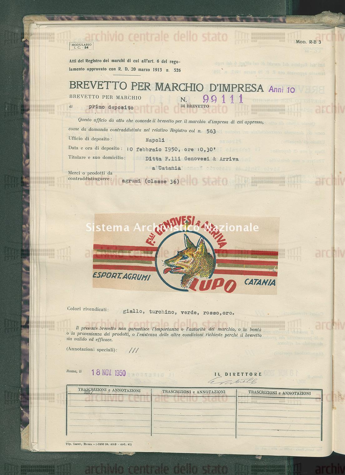 Agrumi Ditta F.Lli Genovesi & Arriva (18/11/1950)