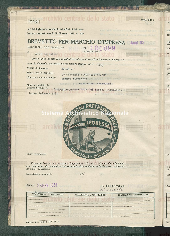 Formaggio grasso tipo bel paese ecc. Fedele Paterlini (25/01/1951)