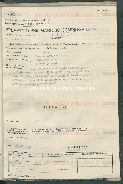 Acque da tavola artificiali e naturali, etc. Emilio Cazzaniga (28/04/1951)
