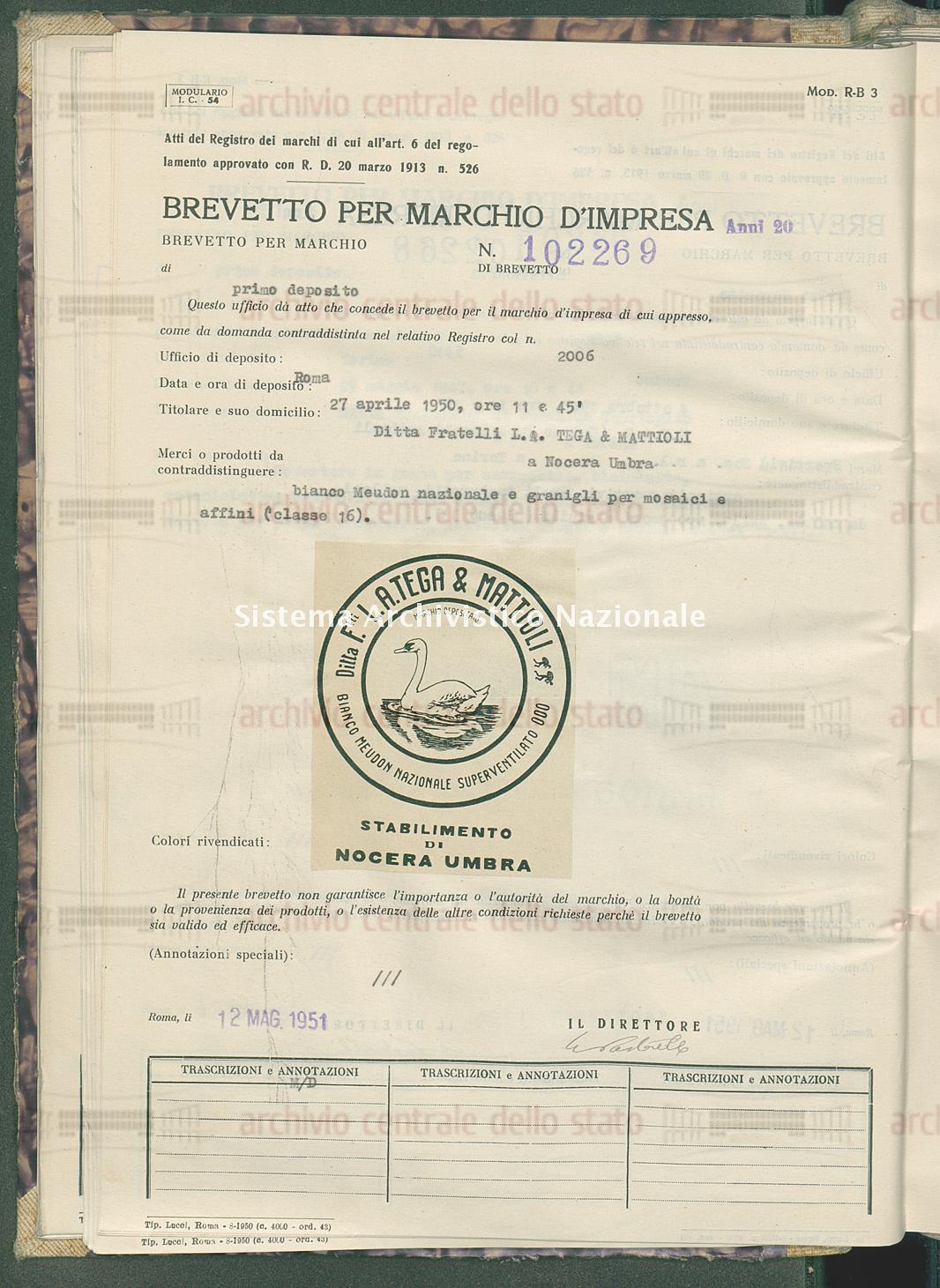 Bianco meudon nazionale e granigli per mosaici e affini Ditta Fratelli L.A. Tega & Mattioli (12/05/1951)