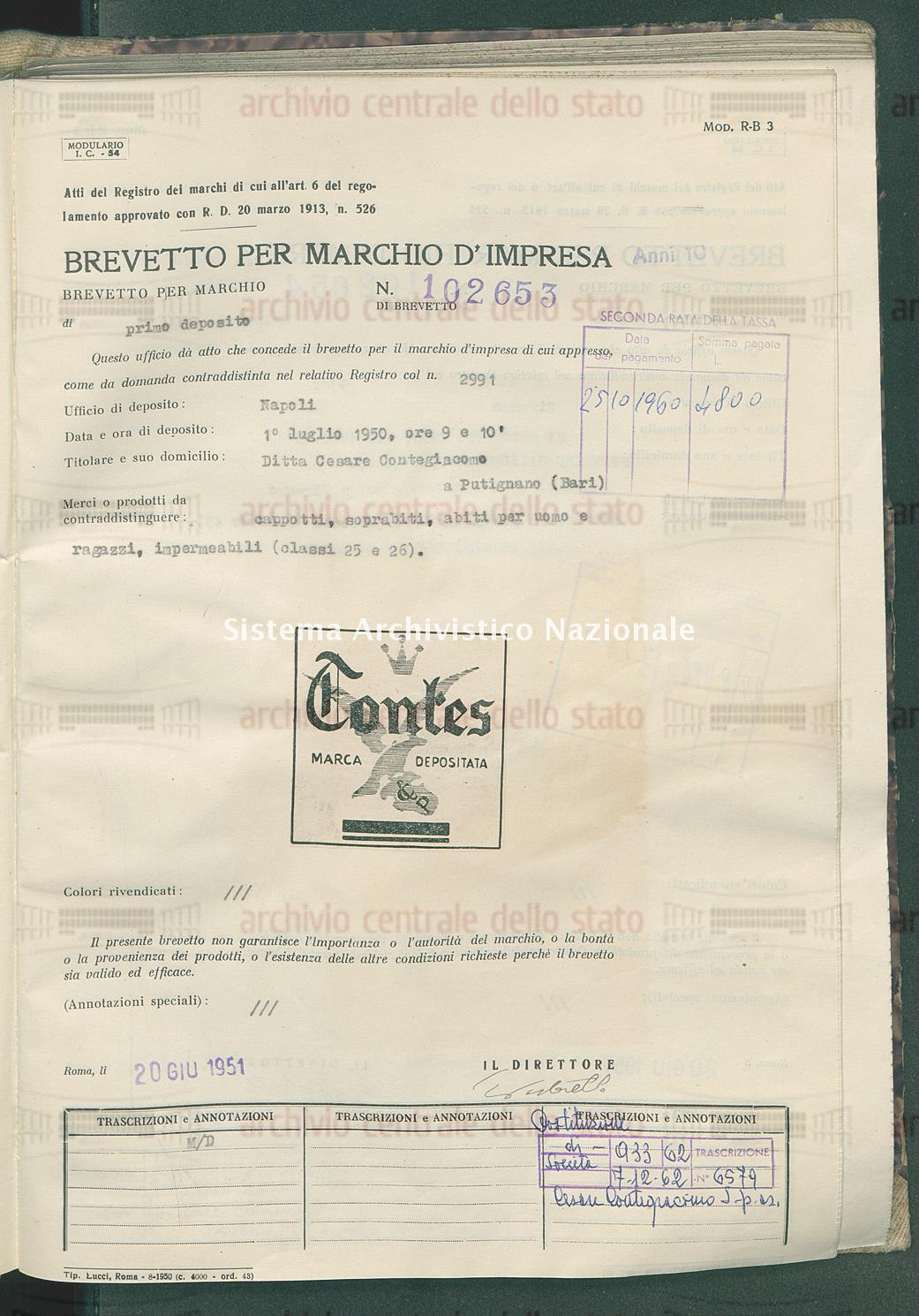 Cappotti, soprabiti, etc. Ditta Cesare Contegiacomo (20/06/1951)