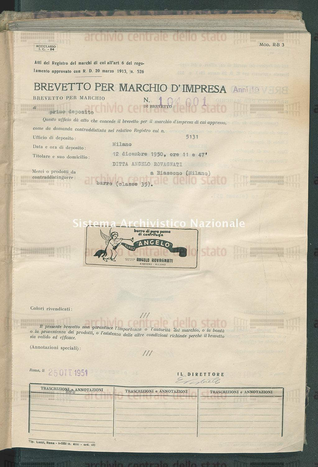 Burro Ditta Angelo Rovagnati (25/10/1951)