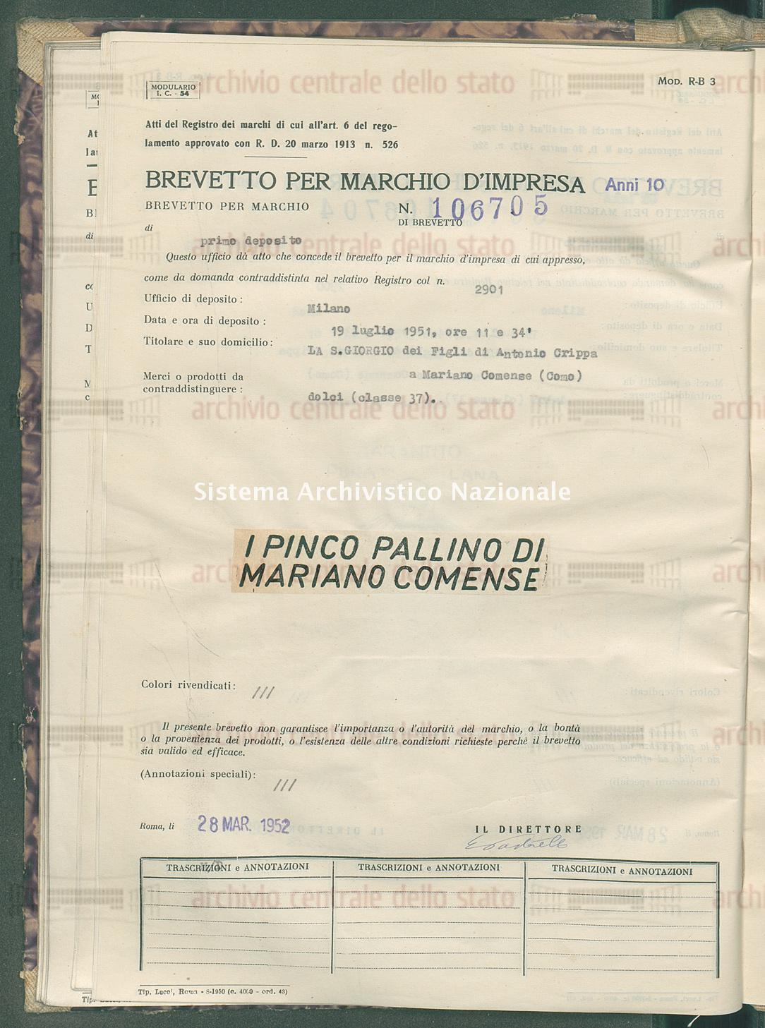 Dolci La S. Giorgio Dei Figli Di Antonio Crippa (28/03/1952)
