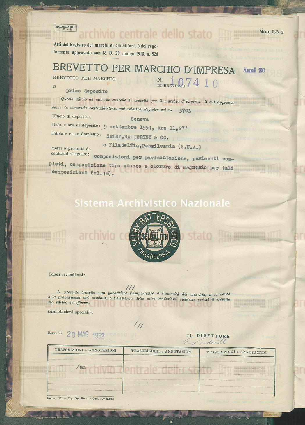 Composizioni per pavimentazione, pavimenti completi, ecc. Selby, Battersby & Co. (20/05/1952)