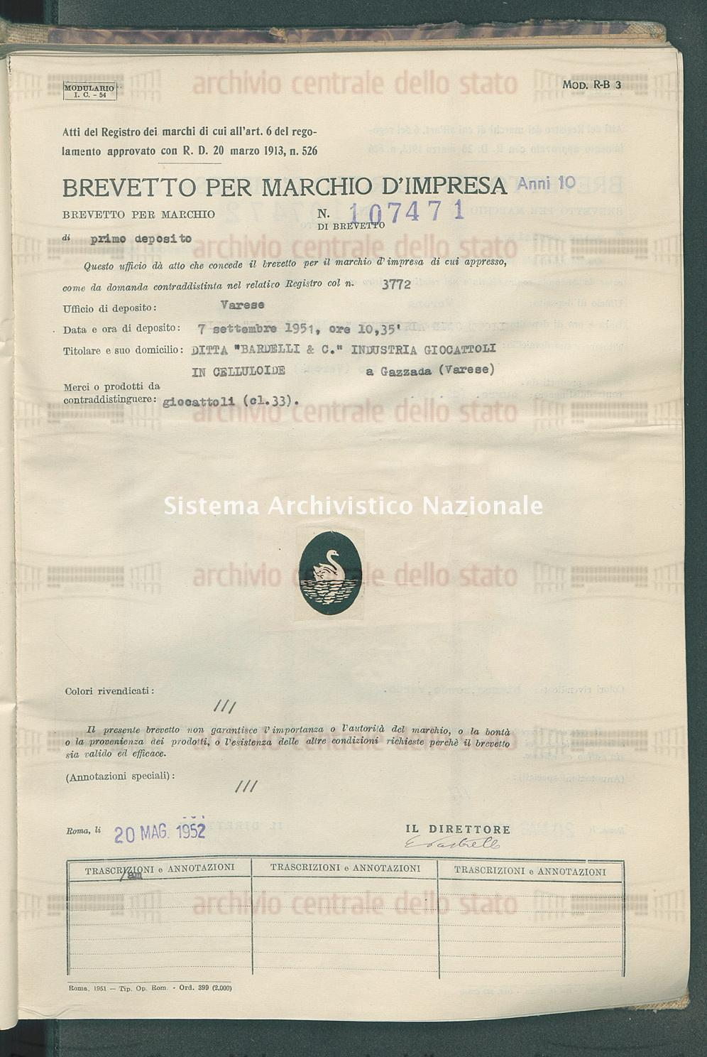 Giocattoli Ditta 'Bardelli & C.' Industria Giocattoli In Celluloide (20/05/1952)