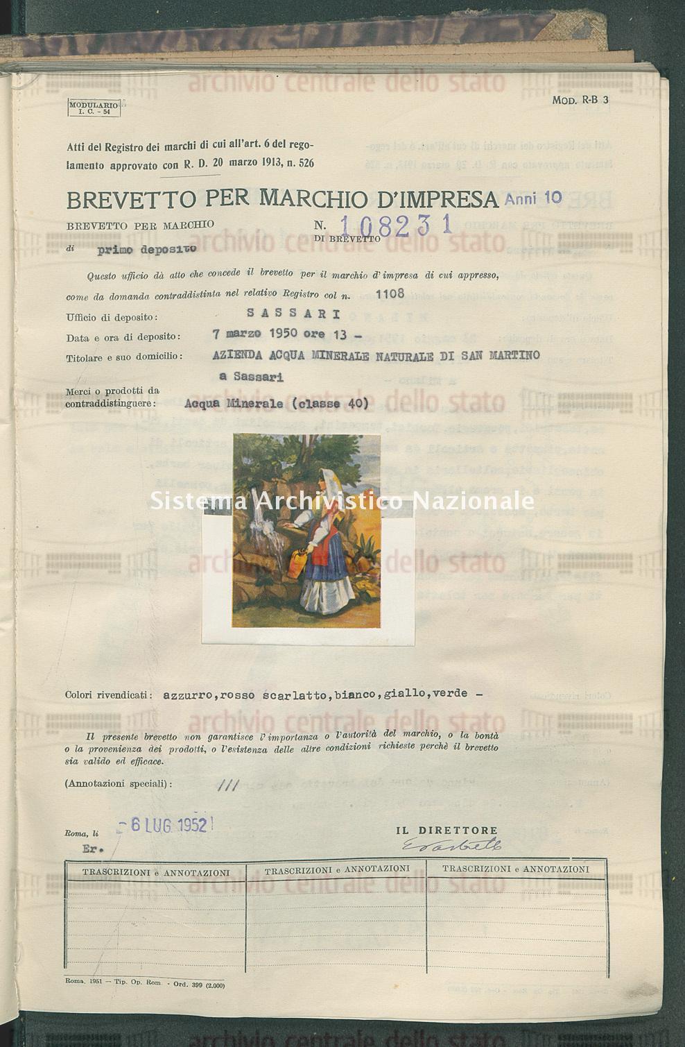 Acqua minerale Azienda Acqua Minerale Naturale Di San Martino (06/07/1952)
