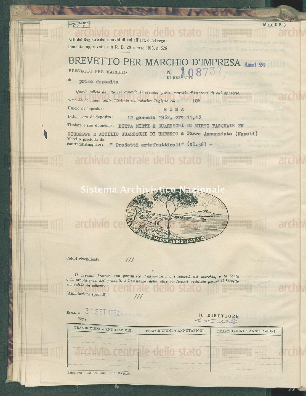'Prodotti ortofrutticoli' Ditta Mirti E Guareschi Di Mirti Pasquale Fu Giuseppe E Attilio Guareschi Di Umberto (03/09/1952)